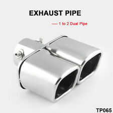 Rectangle silver Car Stainless Steel Dual EXHAUST Tail Muffler Tip Pipe 2.5""