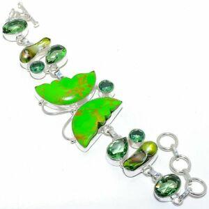 "Butterfly - Copper Green Turquoise Silver Fashion Jewelry Bracelet 7-8"" SB4570"