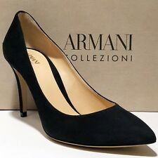 ARMANI Women's Black Suede Leather 9 39 Pointed Toe Stiletto HEELS PUMPS