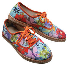 Women's Colorful Espadrilles Sneakers - Mimosa Floral Canvas Tennis Shoes - 38