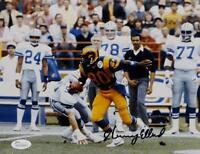 Henry Ellard Autographed 8x10 LA Rams Against Dallas Photo- JSA Witnessed Auth