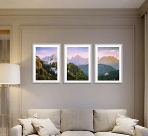 Forest Prints Set of 3 Mountain Wall Art Green Foggy Woods Neuschwanstein Castle