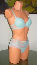 NWT La Perla DONNA ELEONORA Bra / Panty, 34B / 2 / S Blue * $382 *
