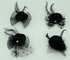Mini Top Hat Fascinator Black Mesh & Feathers Burlesque Hen Night Fancy Dress