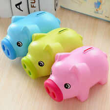 Plastic Cute Piggy Bank Pig Cash Tin Coin Money Saving Box Toy Kids Gifts