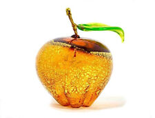 Murano Glass Hand Blown Amber Apple - Made In Italy