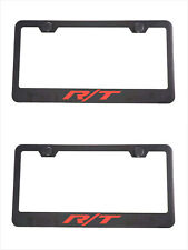 2X Black R/T RT  Racing Stainless Steel License Plate Frame Cove For Dodge SRT