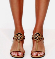 New $268 Tory Burch MILLER WEDGE LOGO SANDAL Dusty Cypress TAN 8.5 or 9.5 NIB