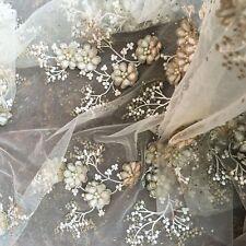 119cm amande broderie MARIAGE tissu dentelle perlé 3D floral pour mariée