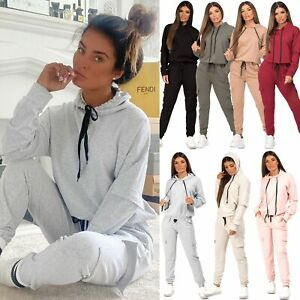 Womens 2 Pcs Utility Pocket Co Ord Lounge Wear Hooded Top Joggers Tracksuit Set