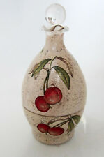 Antique/vintage Double Layered decanter FORTIES glass painted cherries lemons