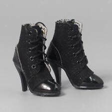 1/6 Female High Heeled Black Ankle Boots for 12'' Action Figure Body Shoes