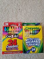 Lot 2 Crayola Washable Crayons Nontoxic 24 Count And Cra-Z-Art 24 Crayons