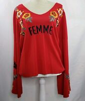 INC Womens Red Femme Embroidered Bell-Sleeve Top XL  Long Sleeved Floral NWT