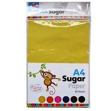 Papel De Azúcar A4 - 60 Hojas - 10 cada uno-amarillo, verde, naranja, rosa, azul y marrón