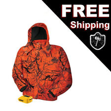 DEWALT Heated Work Hunting Jacket Large Blaze Orange Camo Hooded DCHJ063B USB