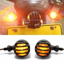 2 X GOLD LENS MOTORCYCLE BLACK GRILL TURN SIGNAL BRAKE STOP RUNNING TAIL LIGHTS