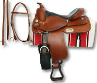 Beautiful Premium Leather Western Barrel Racing Horse Saddle Tack Size 14 to 18