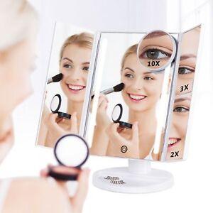 Portable Beauty Makeup Mirror 8 LED 3-Folding Tabletop Illuminated Makeup Mirror