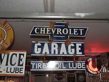Old antique style Chevy dealer service garage sign large 3 piece very nice