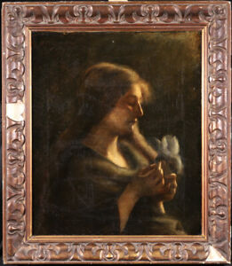 19th CENTURY HUGE FRENCH SYMBOLIST OIL ON CANVAS - GIRL HOLDING FLOWER