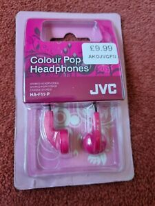 JVC Colour Pop in-ear Stereo headphones Pink. Model HA-F11-P. BNIB