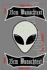 Alien Rückenpatch Aufnäher  oben unten -motiv Mit  Wunschtext ...SET