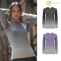 Tombo Women's Seamless Yoga Long Sleeve Running Top (TL304) - Gym Workout Top