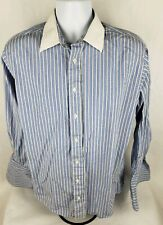 Burberrys Mens Dress Shirt Sz 16.5 Blue White Striped French Cuff Cotton **