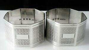 Pair Octagonal Silver Napkin Rings, Birmingham 1937, John Rose