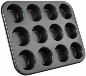 Black Non Stick 12 Cup Baking Tray deep bun tray Tin Cupcake Cake Muffin Pies