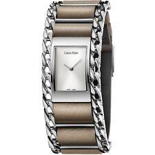 CK Donna Calvin Klein Orologio Watch K4R231X6 Pelle Beije Catena Impeccabile New