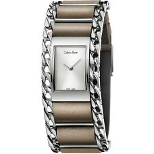 CK Mujer Calvin Klein Reloj Watch K4R231X6 Piel Beije Cadena Impecable New