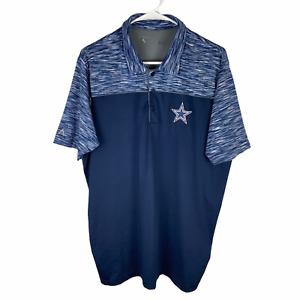 Dallas Cowboys NFL Polo Shirt Men's Large Blue Navy Heather Stretch Antigua