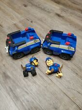 Paw Patrol Chase's Cruiser vehicle lot mission 2 dogs pups blue police euc