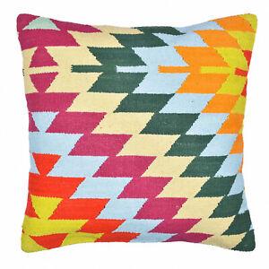 Cotton Pillow Cases Turkish Kilim Rug Cushion Cover Hand Woven 18x18 Sofa Decor