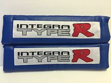 INTEGRA Type R 2Pcs BLUE Pleather Embroidery Car Seat Belt Shoulder Pads NEWcute