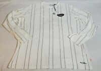 Puma 91074 Long Sleeve Shirt Mens Size Large L Off White pin striped 579987-02