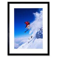 "Skier Ski Jumping Snow Sport Sky Photo Framed Art Print Picture & Mount 12x16"""
