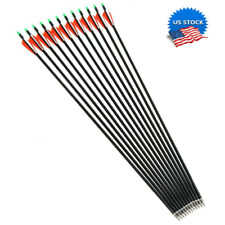 """30"""" 12Pcs 7.8mm SP500 Carbon Arrows Hunting Archery For Compound Recurve Bow New"""