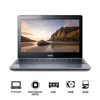 """Acer Chromebook C720 11.6"""" Celeron Dual-Core 2GB 16GB SSD For Mother's Gift Used"""