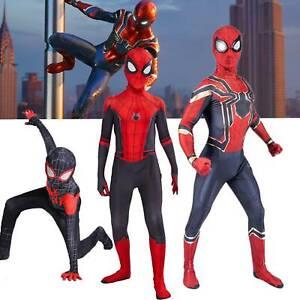 Spider Man Into the Superhero Costume Kids Miles Morales Cosplay Zentai Body Set