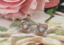 Vintage Jewellery Sterling Silver Earrings Pink Enamel and Opals Antique Jewelry