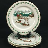Set of 3 Decorative Plates Country Christmas Collection Porcelain Ware Sleigh