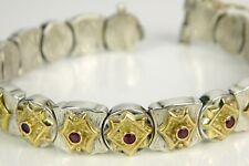 Mystery Designer 18K Yellow Gold & Sterling Silver Ruby Station Link Bracelet