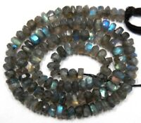 """Labradorite with Fire 3.5-4mm Faceted Rondelle Gemstone Beads 14"""" Str A++"""
