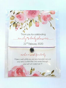 Personalised Baby Shower Favour, Pink Roses wish bracelet, girl, boy, baby gift