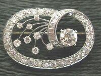 5.60CT Round & Baguette Cut Diamond 14K White Gold Over Pretty Brooch Pin