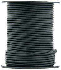 Xsotica® Black Round Leather Cord 2mm 10 meters (11 yards)