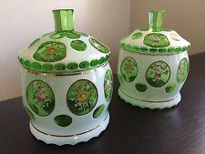 Fine Vintage Antique Bohemian Czech Cut White to Green PAIR Lidded Jars BEAUTIES